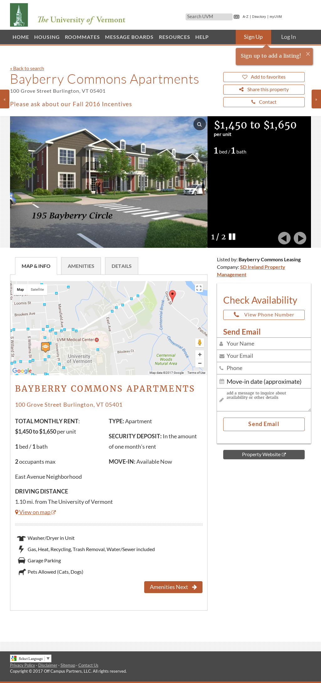The University of Vermont | Off Campus Housing Search